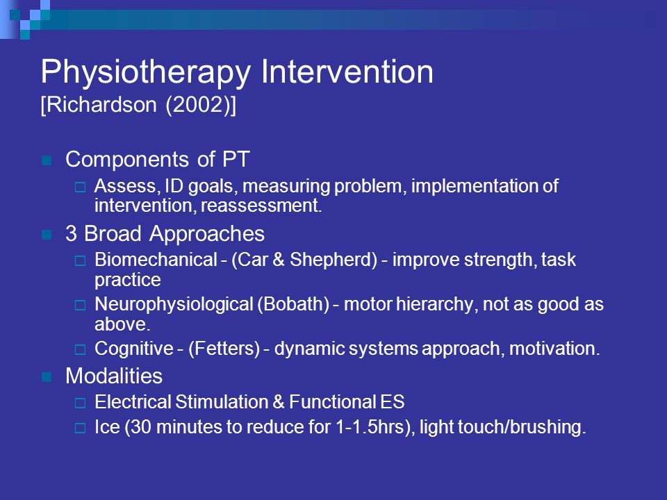 Physiotherapy Intervention [Richardson (2002)]